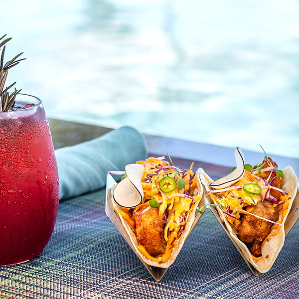 Tacos Dining Pool Snack at Garza Blanca Los Cabos